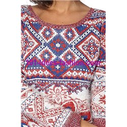 Sweater soft touch print 101 idées 8213W New winter collection 2017