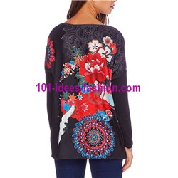 T-shirt top winter floral ethnic 101 idées 2101W paris french