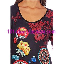 T-shirt top winter floral ethnic 101 idées 2103W store uk