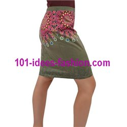 Mini skirt suede print floral ethnic 101 idées 0360W store uk