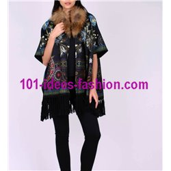 ethnic printed poncho fringes and fur brand 101 idees 2113P store uk