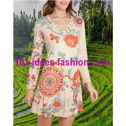 dress tunic suede ethnic floral 101 idées 3142W Spring Summer 2018