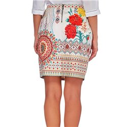Mini skirt suede print floral ethnic 101 idées 359Y womens clothes
