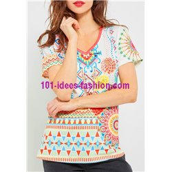 top lace plus size summer floral ethnic 101 idées Design 467YL womens
