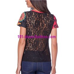 T-shirt top lace summer floral ethnic 101 idées 453Y womens clothes