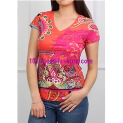 T-shirt top suede floral ethnic 101 idées 3145Y clothes for women