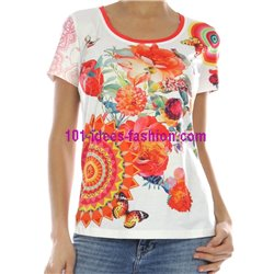 T-shirt top lace summer floral ethnic 101 idées 436Y clothes for women