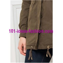 boho chic Parka khaki with hood 418R clothes for women