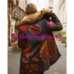 winter coat print ethnic with fur brand 101 idees 217CAS clothes for