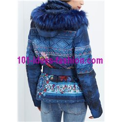 coat short quilted print floral fur hood brand 101 idees 1821Z