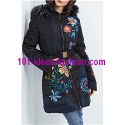 coat long quilted print floral fur hood brand 101 idees 1826Z clothes