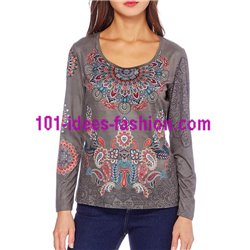 oberteile top t-shirt Wildleder optik ethno winter 101 idées 0373W boho