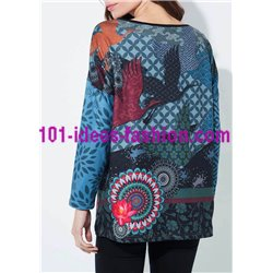 T-shirt top winter ethnic 101 idées 2119Z clothes for women