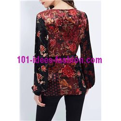 boho chic T-shirt top velvet winter floral ethnic 101 idées 2078Z