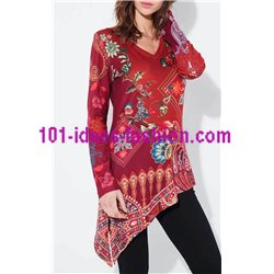 tunic ethnic floral asymmetric winter 101 idées 2123Z clothes for