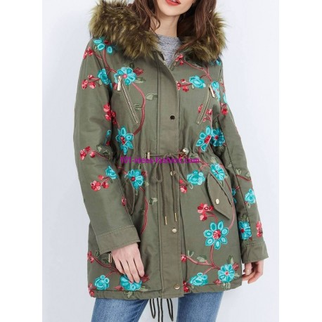 Cotton coat with embroidered flowers fur hood brand 101 idees 3804W