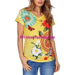 boho chic tshirt top print summer brand 101 idées Design 417Y clothes