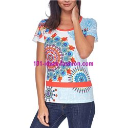 T-shirt top summer floral ethnic 101 idées 415Y