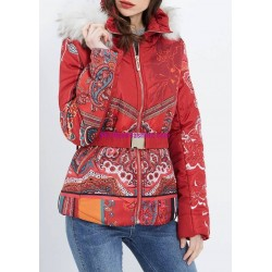 buy now coat short quilted print ethnic fur hood brand 101 idees