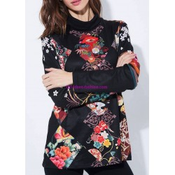 buy now T-shirt top winter floral ethnic 101 idées 2127Z clothes for