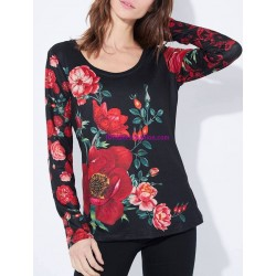 buy now T-shirt top winter floral 101 idées 2124Z clothes for women