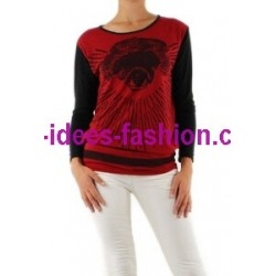 boho chic t-shirt camicette top invernali marca 101 idees 9021R moda